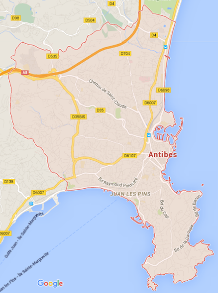 Carte GoogleMaps de la commune d'Antibes (06600)